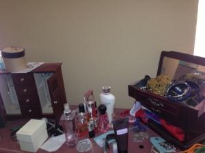 A dresser of junk