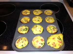 Egg muffins out of the oven ...I added to much to the one the right