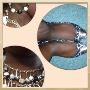 Black, white and silver accessories